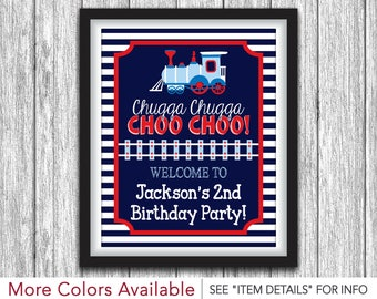 "Train Birthday Party Sign - Printable Train Birthday Party Decorations - 8""x10"" Welcome Sign - DIY Digital File"