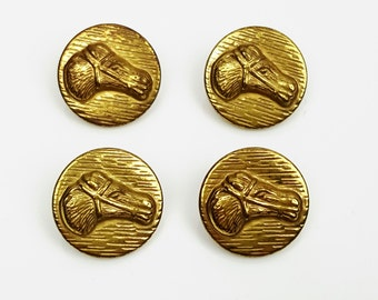 4 vintage sewing buttons gold-tone metal embossed horse heads shank back 20mm