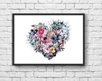 Art-Poster - 50 x 70 cm - Heart headskull Lovers