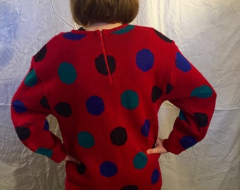 90s Chunky and Funky Polka Dot Sweater