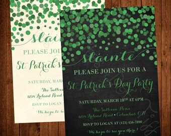 Sláinte, Modern, Classy, Falling Dots, Printable St. Patrick's Day Party Invitation