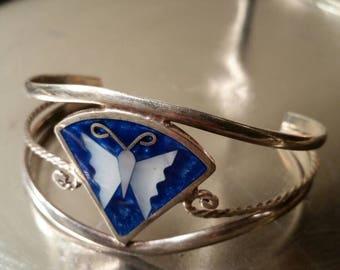 Vintage bracelet Alpaca Mexico silver blue butterfly cuff bracelet silver bracelet butterfly bracelet vintage jewelry Mexico silver
