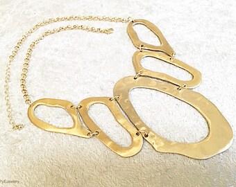 Gold Ovals Necklace   / Bib Necklace.