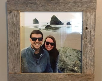 reclaimed wood 8x8 picture frame, natural