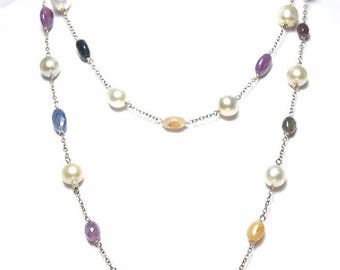 Double strand south sea pearls with gemstone