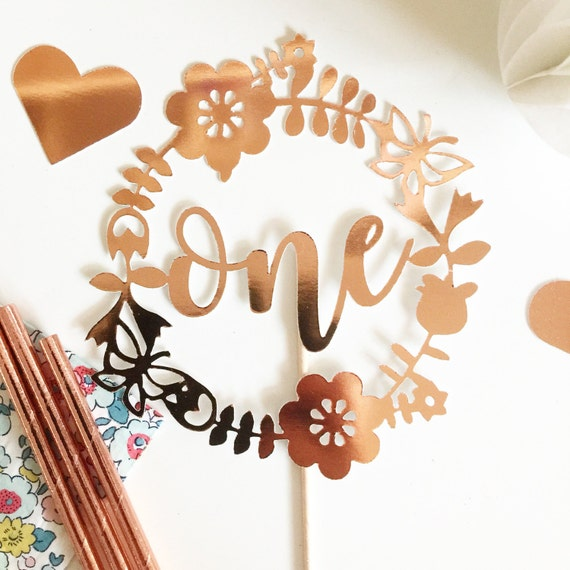 Floral Wreath Topper | Garden Party | Custom Age Wreath Floral Cake Topper - Gold, Rose Gold OR Silver Metallic Age Cake Topper