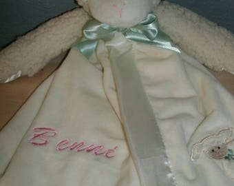 Personalized White Lamb Snuggler Animal Security Blanket Blankie.. Custom Made Any Name & Color EMBROIDERED