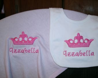 Princess Crown Personalized Infant Toddler Baby Blanket & Bib Set  Any color