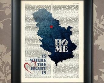 Serbia Art Print, Serbia Print, Serbia Map Art, Serbia Wall Art, Serbia Poster, Serbia Map Print, Serbia Map, Serbia Decor, Map of Serbia