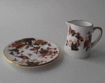 Vintage Coalport MINIATURE bone china jug and plate, hand decorated in 'Hong Kong' Imari pattern.