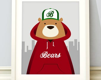 Woodland bear print, woodland animals, street bear print, nursery art, nursery wall art, nursery wall art, urban bear, bear, nursery art