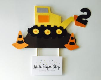 Handmade Cake Topper - Construction Digger Theme