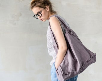 Large linen tote bag / linen beach bag / linen shopping bag in cafe mocha / purple