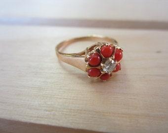 14K Coral Diamond Ring, Women's Ring, Yellow Gold