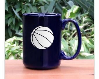 Basketball Coffee Mug / Ceramic 15 oz Coffee Cup / Sports Engraved Tea Mug / Basketball Coffee Mug / Hot Chocolate Mug