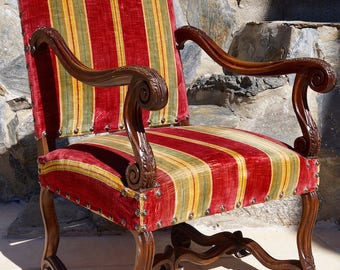 Antique French Regency Upholstered Armchair