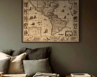 "Map of Americas 1622, Historical map of North & South Americas in 4 sizes up to 45x36"" (110x90cm) in 3 colors  - Limited Edition of 100"