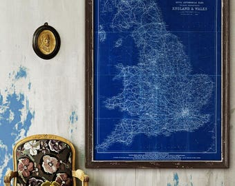 "Map of England 1920, Vintage England map 4 sizes up to 36x48"" (90x120cm) Old map of England, Wales, also in blue - Limited Edition of 100"
