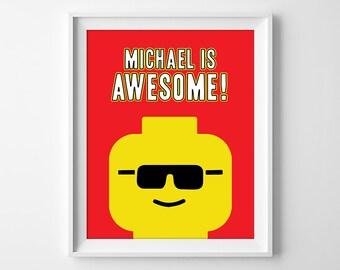 Lego Art, Lego Print, Everything Is Awesome Print, Lego Wall Art, Lego Printables, Lego Birthday Sign, Lego Nursery, Digital Download