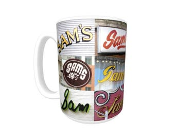 Personalized Coffee Mug featuring the name SAM in photos of signs; Ceramic mug; Unique gift; Coffee cup; Birthday gift; Coffee lover