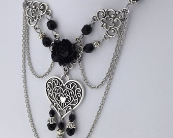 Black Black Heart - Gothic Victorian Choker - Black rose choker - Victorian heart Necklace