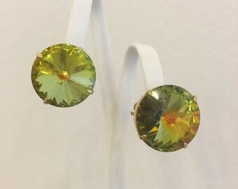 Vintage Mid-Century Heliotrope Crystal Stud Statement Earrings