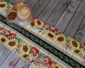 Fall sunflower border table runnner, Thanksgiving table runner, quilted table runner, handmade table runner, side board runner, 71 inches