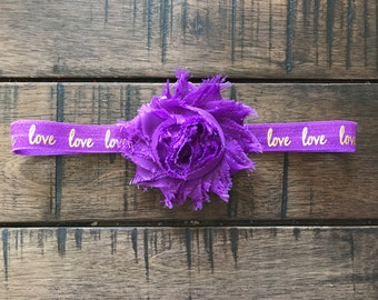 Purple and Gold Headband, Love, Sweetheart, Sweetie, Valentines Day