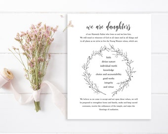LDS Young Women Theme Printable | Minimalist YW Theme | YW Theme | Comes in 3 Sizes | Instant Download | Digital Download | lds