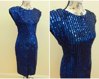 Vintage Sequin Dress by Glenrob, Royal Blue Bodycon 80's Gown, Women's Size Medium to Large