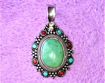 Antique Sterling Silver Pendant with Turquoise Orange Coral and Malachite Prescious Stones