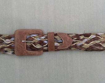 Women's Brown Woven Braided Belt