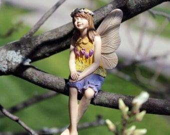 Tree sitter fairy, hanging fairy, tree fairy, miniature fairy, fairy garden supplies, fairy accessories