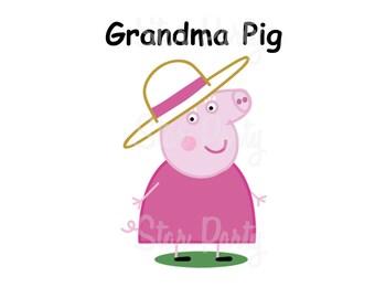 Grandma Pig, Grandma, Digital Image for T shirt, Pig party, Printable Iron On Transfer, Sticker custom Birthday Shirt image