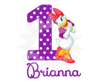 Personalized, Daisy Duck, PDF, Digital Image for T shirt, Printable Iron On Transfer, Sticker custom Birthday Shirt image