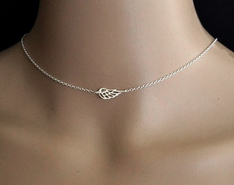 ANGEL WING Choker, Dainty Sterling Silver, Wing Jewelry, Angel Wing Necklace, Valentine's Day, Guardian Angel Jewelry, Angel Jewelry Gift