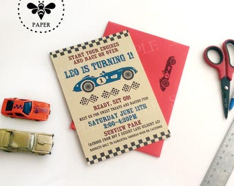 Vintage Race Car Birthday Invitations with matching envelopes
