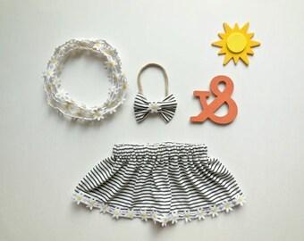 Classy stripe  baby girl skirt, baby girl clothing, baby girl circle skirt, baby fashion skirt, summer skirt, baby skirt set, baby headband