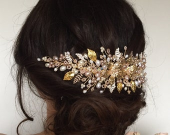 Lily-Rose Wedding Hair Vine, Pearl and Crystal Hair Vine, Bridal Comb, Pink, Gold, Hairpiece,Tiara, Headdress, Hair Flowers