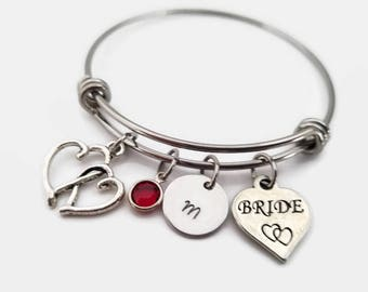 Bride bangle - bridal bracelet - hand stamped bride bracelet - bridal party bracelet - bride jewelry - personalized bracelet