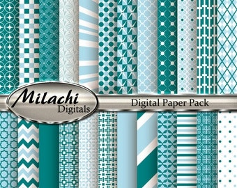 60% OFF SALE Coral Blue and Teal Digital Paper Pack, Scrapbook Papers, Commercial Use - Instant Download - M181