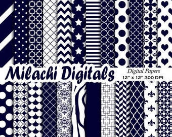 60% OFF SALE midnight blue digital papers, scrapbook papers, background, polka dots, stripes, chevron, baby boy - M535