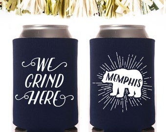 Navy Memphis Can Cooler Neoprene Can Coolers // Bear Grizzlies Grizzly Basketball We Grind Here