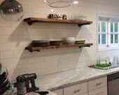 """Custom order for Renee - 4- 11/14"""" x 40"""" and 4 - 11 1/4"""" x 44"""" Industrial Floating shelves"""