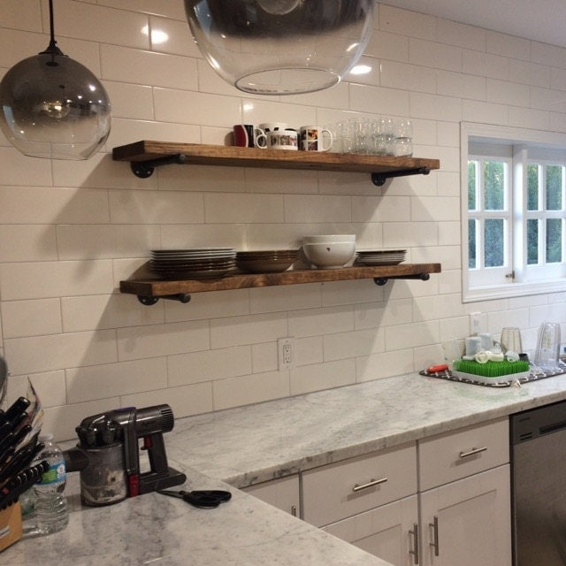 Shelves For Kitchen Wall: ONE Extra Long 12 Deep Rustic Industrial Floating