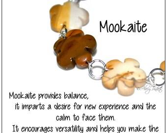 Mookaite Floral Bracelet - brown bracelet, semi precious bracelet, mookaite flowers, flower bracelet, floral stone bracelet, cream bracelet