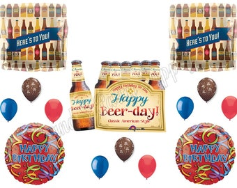 """6-PACK HAPPY """"Beer Day"""" """"Here's To You"""" Birthday Party Balloons Decorations Supplies 21st"""