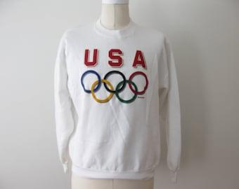 Vintage USA Olympics Sweatshirt Adult Large Medium