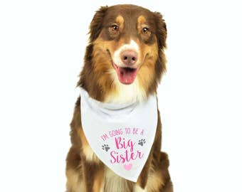 Dog Pregnancy Announcement, Big Sister Dog Bandana, Baby Announcement Dog, Dog Bandana, Personalized Dog Bandana, Dog Gift, Big Sister Dog