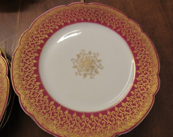 Antique M Redon Gold and Pink LIMOGES Plates Set of 6